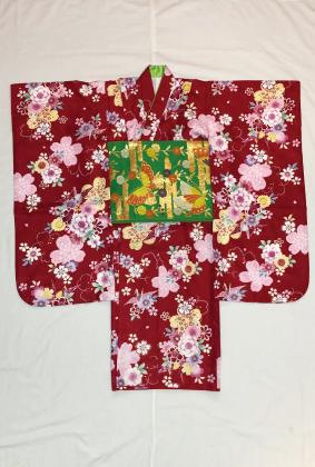 981赤 桜と折り鶴